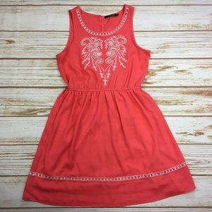 Doe & Rae Coral Sleeveless Embroidered Dress